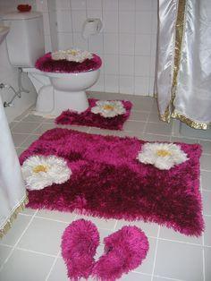 Sakallı İpten Örgü Banyo Takımı Nasıl Yapılır
