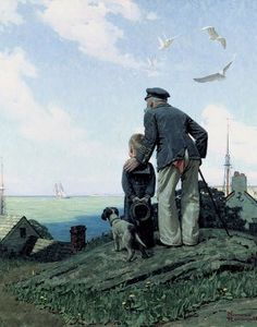 Norman Rockwell Outward Bound Classic Americana Fine Art Postcard Poster Print 11x14