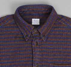 THE HILL-SIDE BUTTON COLLAR SHIRT, QUILTED FLANNEL STRIPE, BROWN/BLUE (Made in Japan)