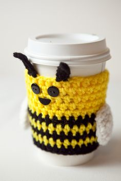 Crocheted Bee Coffee Cup Sleeve by CuddlefishCrafts on Etsy, Crochet Coffee Cozy, Coffee Cup Cozy, Crochet Cozy, Cute Crochet, Crochet Bee, Crochet Gifts, Coffee Cup Sleeves, Crochet Kitchen, Fabric Yarn