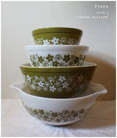 Pyrex Spring Blossom bowls.
