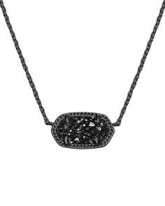 Kendra Scott Jewelry - Elisa Pendant Necklace in Black Drusy  @kendra_scott