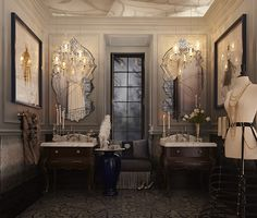 Inspired by the latest film adaptation of Anna Karenina, this gorgeous bathroom starts off dark and moody and transitions to a lighter, brilliant hue, which naturally draws the eye upward. (Photo Credit: Regina Sturrock Design for DXV) King Size Canopy Bed, Built In Vanity, Canopy Bed Curtains, Small Bathroom Sinks, Bathrooms, Smart Toilet, Bath Design, Great Rooms, Design Inspiration