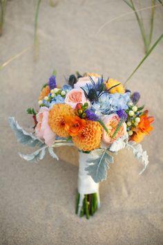 Wedding bouquet on the beach.