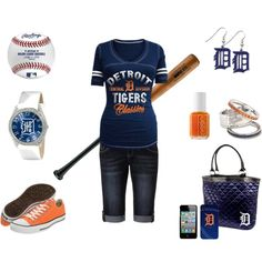 """""""Detroit Tigers"""" by chelseawate on Polyvore... change the logos to Orioles and I'll be ready for the game!"""