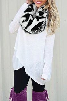 White Loose Fit Overlap T-Shirt