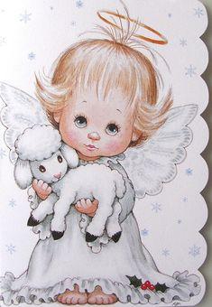 Morehead Baby Girl Child Angel Halo Lamb Sheep Christmas Holiday Greeting Card   eBay