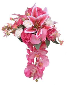 stargazer lillys and orchids with an orchid fall, lighten and add Capri Blue