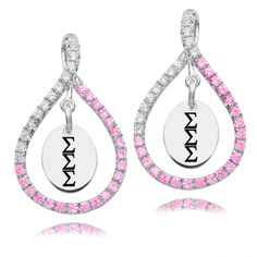 Sigma Sigma Sigma Sterling Silver Pink and White Figure 8 Earrings
