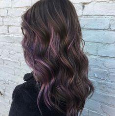 Dark Brown Hair with Purple Highlights