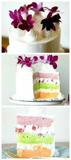 Passion Fruit, Guava, and Lime Chiffon Cake | www.sayitwithcake.org | #hawaiiancake