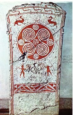 Carved and painted slab, Vallstena, Gotland, Sweden, century; human figures and dragons. Norse Runes, Viking Symbols, Viking Art, Egyptian Symbols, Viking Runes, Mayan Symbols, Viking Woman, Ancient Symbols, Norse Mythology