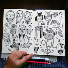 Doodle Inspiration, Sketchbook Inspiration, Bullet Journal Inspiration, Art Sketchbook, Doodle Drawings, Doodle Art, Books Art, Line Doodles, Doodle Characters