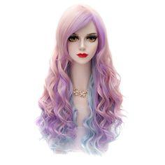 65CM Rainbow Long Wavy Synthetic Hair Side Bang Stylish Charming Lolita Style Cosplay Wig