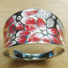 Massjewelry - Gorgeous Red Enamel White CZ 925 Sterling Silver Flower Ring