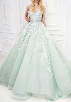 Mint gown with flower embroidery and beaded embellishment. So gorgeous, love this color! jaglady