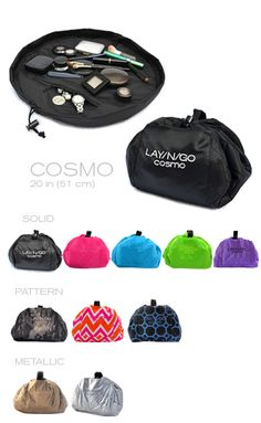 "LAY/N/GO Cosmo is a 20"" diameter washable cosmetic bag that converts into an easily transportable handled clutch allowing for quick and effortless use, clean-up and storage of your cosmetics. Cosmetic collections used on the LAY/N/GO surface are easily spread out on a clean, contained, and dry surface…we even added a pocket to the inside for discrete storage. After each use, simply pull the drawstring and the cosmetic bag is converted back into a completely sealed soft clutch."