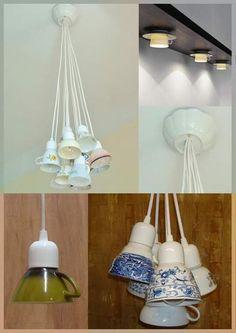 Lamp maken met porseleinen kopjes