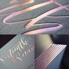 throwback to this wedding invitation project Rose Gold on Colorplan Real Grey - what a combination! Luxury Wedding Invitations, Letterpress Wedding Invitations, Letterpress Printing, Wedding Invitation Suite, Wedding Stationery, Rose Gold Foil, Foil Stamping, Wedding Save The Dates, Letters And Numbers
