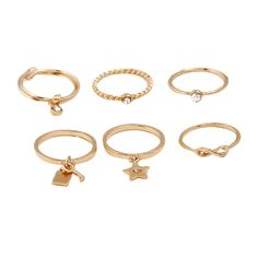 6Pcs Faux Crystal Infinity Star Alloy Rings Golden (3235 ALL) ❤ liked on Polyvore featuring jewelry, rings, crystal jewelry, golden ring, crystal infinity ring, star ring and artificial rings