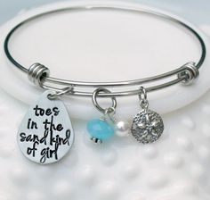Toes in the Sand Kind of Girl Beach Bangle Bracelet - Beach Girl Bracelet - Expandable Bangle - Honeymoon Jewelry - Vacation Jewelry