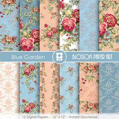 Rose Digital Paper, Shabby Chic Digital Paper Pack, Blue Scrapbooking, Roses, Blue VIntage Roses - INSTANT DOWNLOAD