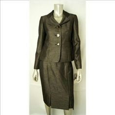 """NWT Le Suit 2 piece dress suit, size 6 petite ~~Retails $200. NWT say color is """"Wild Spirit, black/champagne"""" & I agree. The material is gorgeous w/ a slight sheen, fully lined.. ~~ This Le Suit Petite size 6. Big buttons, delightful lines & dual slits in front of skirt complete this ensemble. It will be stunning on u. Interior leopard design. Wrinkled from ship & storage. ~~NWT. It's stunning. Price Reduced. ~~Offers considered. Pleaserem pn fees 20%.  HP by @wirejewels 4 work week thank u…"""