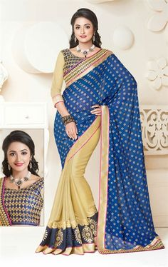 Attractive Beige and Blue Color Lovely Saree