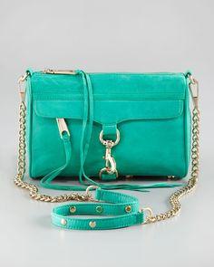 Rebecca Minkoff Mini Handbag (Women's Pre-owned MAC Green Blue Leather Clutch Cross Body Shoulder Bag)