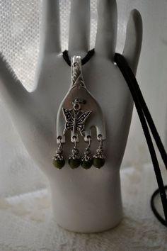 silverware jewelry   Fork Pendant Recycled Silverware Jewelry by TheSilverwearShop