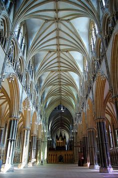The wonderful nave of Lincoln Cathedral.