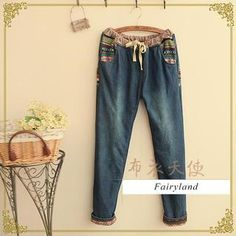 Ethnic Pattern Knit Panel Washed Jeans from #YesStyle <3 Fairyland YesStyle.com