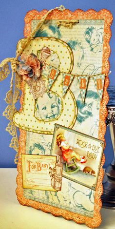 B is for Baby - This darling wall hanging is made with Graphic 45 paper <3