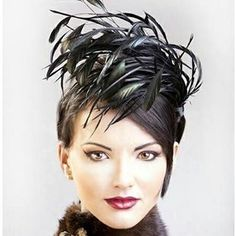 Hat, oh love the hat and the hairstyle, awesome look Millinery Hats, Fascinator Hats, Fascinators, Headpieces, Fancy Hats, Cool Hats, Feather Hat, Feather Headpiece, Kentucky Derby Hats