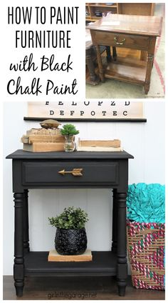 Use black Chalk Paint for stunning painted furniture! Learn how to Chalk Paint furniture with Athenian Black and black wax. Painted furniture ideas by Girl in the Garage Best Chalk Paint, Chalk Paint Dresser, Black Chalk Paint, Chalk Paint Projects, Chalk Paint Furniture, Diy Furniture Projects, Furniture Makeover, Chalk Painting, Diy Projects