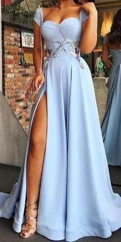 Cap Sleeve Backless A-Line Slit Applique Prom Dresses, The dress is fully lined, 4 bones in t A Line Prom Dresses, Formal Dresses For Women, Dresses For Teens, Formal Gowns, Cheap Dresses, Elegant Dresses, Dress Prom, Long Dresses, Dresses Dresses