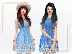 Oasis Broderie Hem Chambray Dress at Sakura Phan • Sims 4 Updates