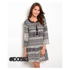 Drop Waist Dress Black and white print drop worst Dress. Made of rayon. Size S, M, L brand new without tags. Dresses Midi