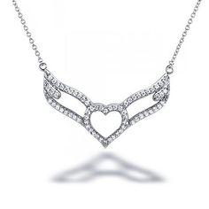 Bling Jewelry 925 Sterling Silver CZ Open Heart Angel Wings Necklace 16in