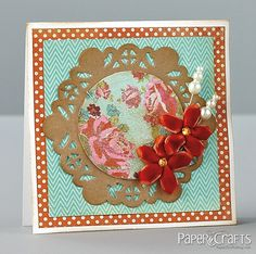 (Julia Stainton) Crackle-painted patterned paper as a focal point.