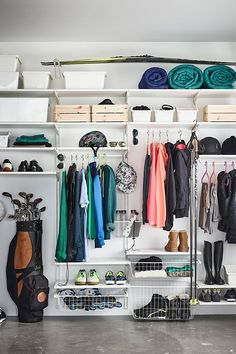 Banish the winter storage blues. Organization is easy with our ALGOT storage wall units and wire baskets. Everything is kept neat and tidy in its own space. Small Bedroom Storage, Small Storage, Closet Storage, Storage Units, Bike Storage, Storage Baskets, Outdoor Storage, Sports Equipment Storage, No Equipment Workout