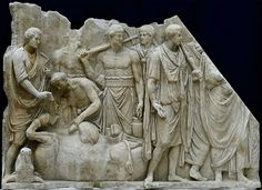 Sacrifice in front of the Temple of Jupiter Capitolinus. ca. 118—125 CE. Roman. marble relief. Louvre Paris.
