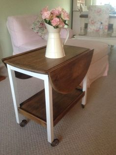 40s 50s Vintage Antique Shabby Chic Drop Leaf Table Trolley