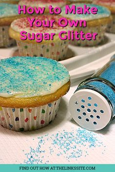 Want to transform your baked delights from plain to amazing. Try decorating them with this easy to make, attractive edible sugar glitter. Homemade Desserts, Easy Desserts, Dessert Recipes, Sugar Glitter, Yummy Appetizers, Appetizer Recipes, Food Hacks, Food Tips, Brownie Recipes