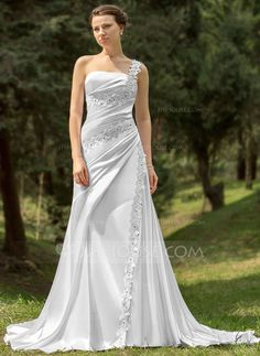 Wedding Dresses -  A-Line/Princess One-Shoulder Chapel Train Charmeuse Wedding Dress With Ruffle Lace Bead work