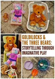 Goldilocks & the Three Bears: Retelling Through Imaginary Play Math and literacy learning through imaginative play! A fabulous invitation to play for toddlers and preschoolers with Goldilocks and the Three Bears. Bears Preschool, Nursery Rhymes Preschool, Preschool Literacy, Preschool Books, Literacy Activities, Toddler Preschool, In Kindergarten, Preschool Activities, Family Activities