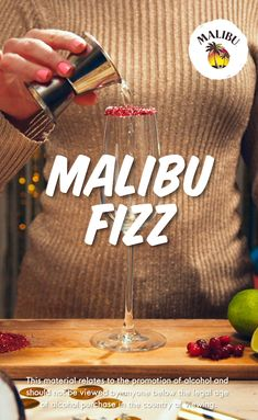 New Year's Eve calls for a Malibu Fizz! This refreshing and delicious cocktail will definitely be a party pleaser at your New Year's Bash. Pour 1- Part Malibu, 1- Part Cranberry Juice, 1- Part Fresh Lime Juice, Top with Prosecco. Happy New Year!