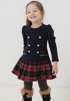 Navy Blue Tartan Coat Dress 3T,4T,5T Checkered Coat Dress | Rudelyn's Sari Sari Store