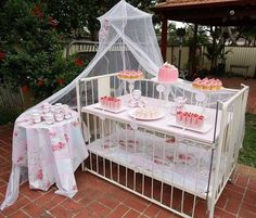 """I Love The Idea Of Using A Baby Crib As Part Of The Decor...But I Think I Would Use It As The """"Gift Table"""" Instead Of Chancing Food Or Drink Being Spilled On It...(No Link)..."""