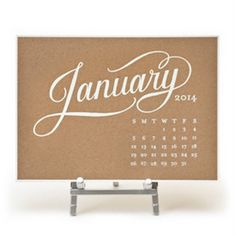 Sugar Paper 2015 Letterpress Desktop Calendar-Kraft w/ White Foil with STAND #calendar #holiday #2015